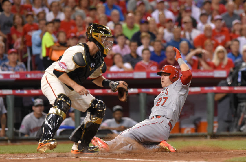 Mike Trout, Los Angeles Angels, Buster Posey (Photo by Mark Cunningham/MLB Photos via Getty Images)
