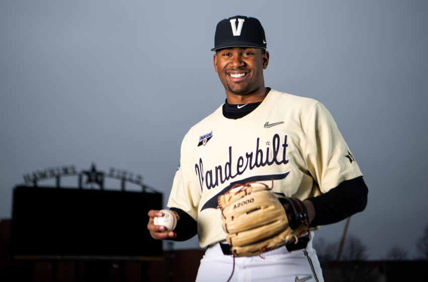 Vanderbilt pitcher Kumar Rocker poses for a portrait at Charles Hawkins Field Tuesday, Dec. 10, 2019, in Nashville, Tenn. Cp18465