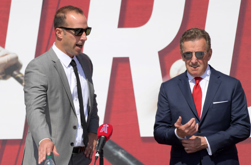 Los Angeles Angels owner Arte Moreno (right) and general manager Billy Eppler Mandatory Credit: Kirby Lee-USA TODAY Sports