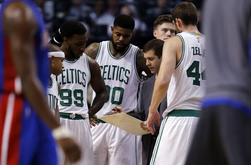 Feb 3, 2016; Boston, MA, USA; Boston Celtics head coach Brad Stevens talks to his players during a break in the action against the Detroit Pistons in the second quarter at TD Garden. Mandatory Credit: David Butler II-USA TODAY Sports