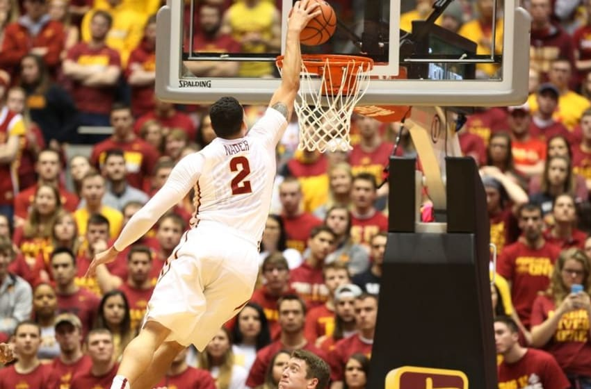 Feb 29, 2016; Ames, IA, USA; Iowa State Cyclones forward Abdel Nader (2) dunks over the top of Oklahoma State Cowboys forward Mitchell Solomon (41) at James H. Hilton Coliseum. The Cyclones beat the Cowboys 58-50. Mandatory Credit: Reese Strickland-USA TODAY Sports