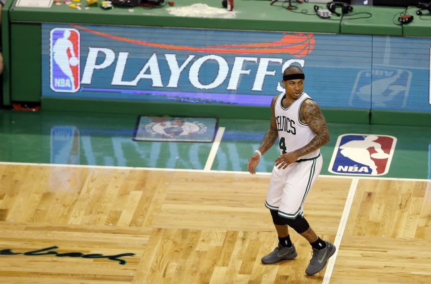 Apr 22, 2016; Boston, MA, USA; Boston Celtics guard Isaiah Thomas (4) on the court against the Atlanta Hawks during the fourth quarter in game three of the first round of the NBA Playoffs at TD Garden. The Celtics defeated the Hawks 111-103. Mandatory Credit: David Butler II-USA TODAY Sports