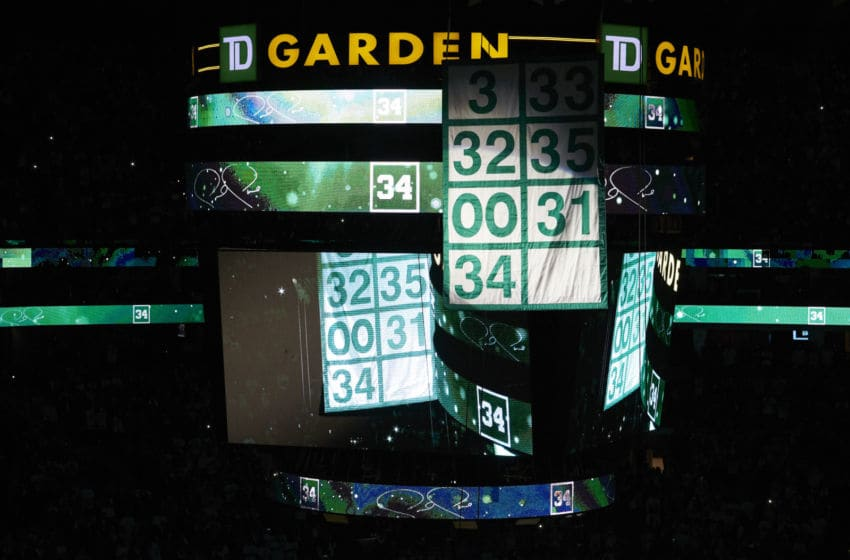 CLEVELAND, OH - FEBRUARY 11: Paul Pierce raises the banner listing numbers retired by the Boston Celtics during his Jersey Retirement Ceremony on February 11, 2018 at TD Garden in Boston, Massachusetts. NOTE TO USER: User expressly acknowledges and agrees that, by downloading and or using this Photograph, user is consenting to the terms and conditions of the Getty Images License Agreement. Mandatory Copyright Notice: Copyright 2018 NBAE (Photo by Nathaniel S. Butler/NBAE via Getty Images)