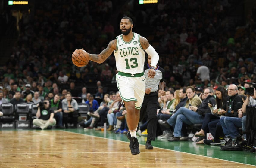 BOSTON, MA - SEPTEMBER 30: Marcus Morris #13 of the Boston Celtics handles the ball against the Charlotte Hornets during a preseason game on September 30, 2018 at the TD Garden in Boston, Massachusetts. NOTE TO USER: User expressly acknowledges and agrees that, by downloading and or using this photograph, User is consenting to the terms and conditions of the Getty Images License Agreement. Mandatory Copyright Notice: Copyright 2018 NBAE (Photo by Brian Babineau/NBAE via Getty Images)