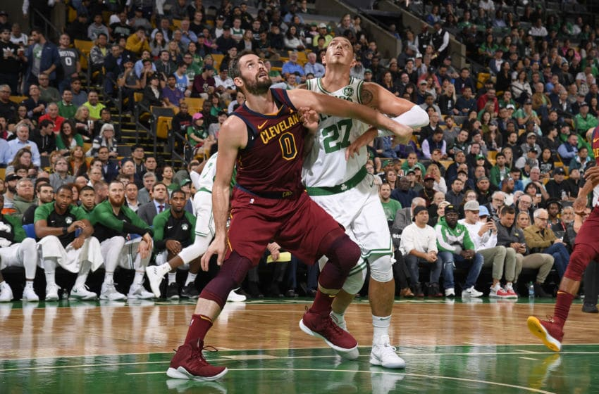 BOSTON, MA - OCTOBER 2: Kevin Love #0 of the Cleveland Cavaliers and Daniel Theis #27 of the Boston Celtics box out during a pre-season game on October 2, 2018 at the TD Garden in Boston, Massachusetts. NOTE TO USER: User expressly acknowledges and agrees that, by downloading and or using this photograph, User is consenting to the terms and conditions of the Getty Images License Agreement. Mandatory Copyright Notice: Copyright 2018 NBAE (Photo by Brian Babineau/NBAE via Getty Images)
