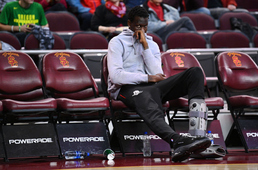 LOS ANGELES, CA - FEBRUARY 21: Injured Oregon center Bol Bol (1) looks on during a college basketball game between the Oregon Ducks and the USC Trojans on February 21, 2019 at Galen Center in Los Angeles, CA. (Photo by Brian Rothmuller/Icon Sportswire via Getty Images)