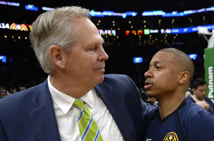 BOSTON, MA - MARCH 18: Celtics general manager and president Danny Ainge, left, and Isaiah Thomas #0 of the Denver Nuggets talk after the Nuggets beat the Celtics 114-105 during an NBA basketball game at TD Garden in Boston, Massachusetts on March 18, 2019. (Staff Photo By Christopher Evans/MediaNews Group/Boston Herald via Getty Images)