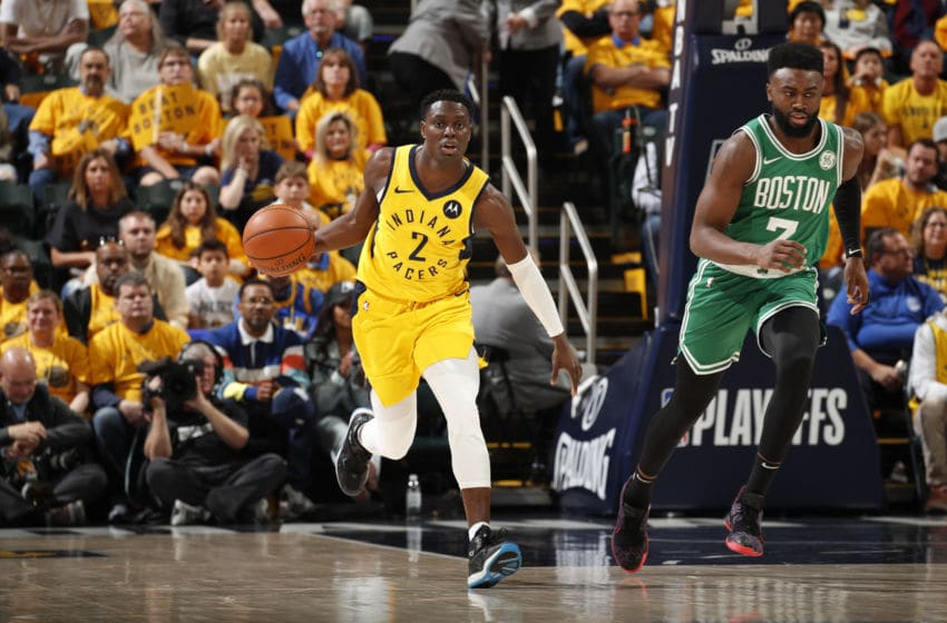 INDIANAPOLIS, IN - APRIL 21: Darren Collison #2 of the Indiana Pacers handles the ball against the Boston Celtics during Game Four of Round One of the 2019 NBA Playoffs on April 21, 2019 at Bankers Life Fieldhouse in Indianapolis, Indiana. NOTE TO USER: User expressly acknowledges and agrees that, by downloading and or using this photograph, User is consenting to the terms and conditions of the Getty Images License Agreement. Mandatory Copyright Notice: Copyright 2019 NBAE (Photo by Jeff Haynes/NBAE via Getty Images)