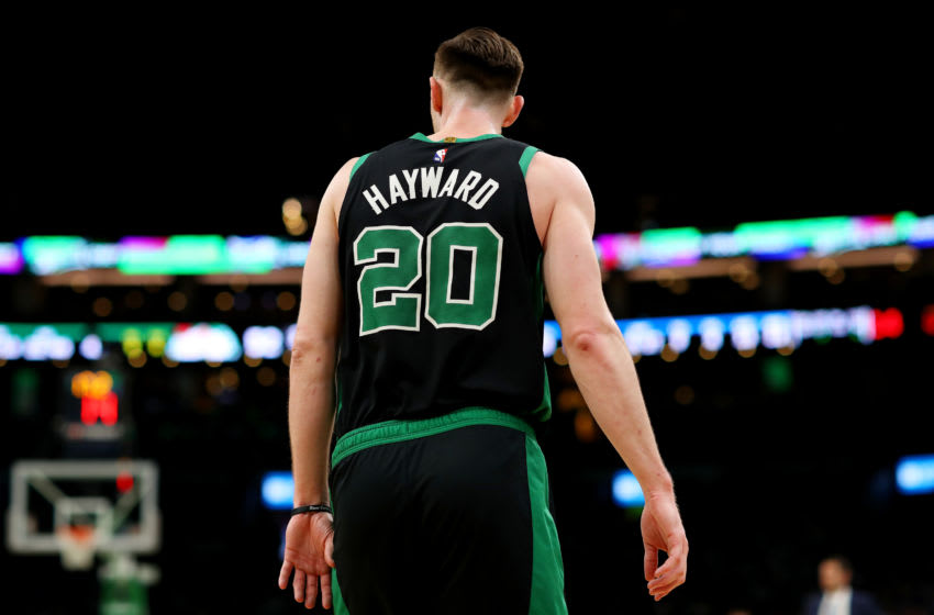 BOSTON, MASSACHUSETTS - APRIL 07: Gordon Hayward #20 of the Boston Celtics looks on during the second quarter against the Orlando Magic at TD Garden on April 07, 2019 in Boston, Massachusetts. NOTE TO USER: User expressly acknowledges and agrees that, by downloading and or using this photograph, User is consenting to the terms and conditions of the Getty Images License Agreement. (Photo by Maddie Meyer/Getty Images)