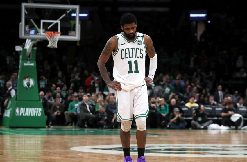 BOSTON - MAY 3: Boston Celtics guard Kyrie Irving (11) stands alone no the court during the final minutes of the fourth quarter. The Boston Celtics host the Milwaukee Bucks in Game 3 of the Eastern Conference semifinals at TD Garden in Boston on May 03, 2019. (Photo by Barry Chin/The Boston Globe via Getty Images)