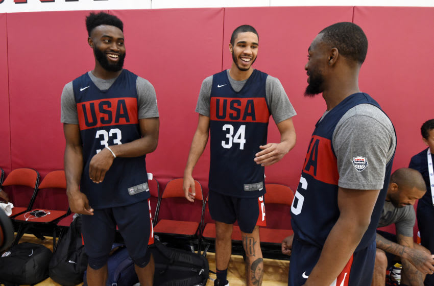 LAS VEGAS, NV - AUGUST 06: Jaylen Brown, Jayson Tatum and Kemba Walker talk during the 2019 USA Basketball Men's National Team Training Camp at Mendenhall Center on the University of Nevada, Las Vegas campus on August 06, 2019 in Las Vegas Nevada. NOTE TO USER: User expressly acknowledges and agrees that, by downloading and/or using this Photograph, user is consenting to the terms and conditions of the Getty Images License Agreement. Mandatory Copyright Notice: Copyright 2019 NBAE (Photo by Andrew D. Bernstein/NBAE via Getty Images)