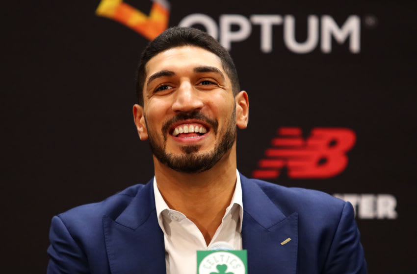 BOSTON, MASSACHUSETTS - JULY 17: Enes Kanter reacts during a press conference as he is introduced as a member of the Boston Celtics at the Auerbach Center at New Balance World Headquarters on July 17, 2019 in Boston, Massachusetts. (Photo by Tim Bradbury/Getty Images)