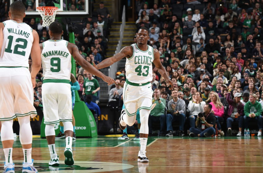 BOSTON, MA - OCTOBER 6: Javonte Green #43 of the Boston Celtics high-fives Brad Wanamaker #9 of the Boston Celtics against the Charlotte Hornets on October 6, 2019 at the TD Garden in Boston, Massachusetts. NOTE TO USER: User expressly acknowledges and agrees that, by downloading and or using this photograph, User is consenting to the terms and conditions of the Getty Images License Agreement. Mandatory Copyright Notice: Copyright 2019 NBAE (Photo by Brian Babineau/NBAE via Getty Images)