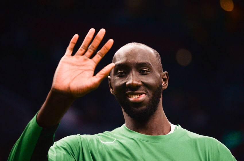 BOSTON, MA - OCTOBER 13: Tacko Fall #99 of the Boston Celtics waves during warmups prior to the start of the game against the Cleveland Cavaliers at TD Garden on October 13, 2019 in Boston, Massachusetts. NOTE TO USER: User expressly acknowledges and agrees that, by downloading and or using this photograph, User is consenting to the terms and conditions of the Getty Images License Agreement. (Photo by Kathryn Riley/Getty Images)