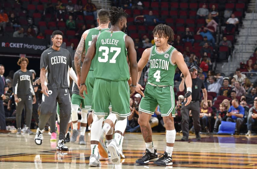 CLEVELAND, OH - OCTOBER 15: Carsen Edwards #4 of the Boston Celtics reacts to a play against the Cleveland Cavaliers during a pre-season game on October 15, 2019 at Quicken Loans Arena in Cleveland, Ohio. NOTE TO USER: User expressly acknowledges and agrees that, by downloading and/or using this Photograph, user is consenting to the terms and conditions of the Getty Images License Agreement. Mandatory Copyright Notice: Copyright 2019 NBAE (Photo by David Liam Kyle/NBAE via Getty Images)