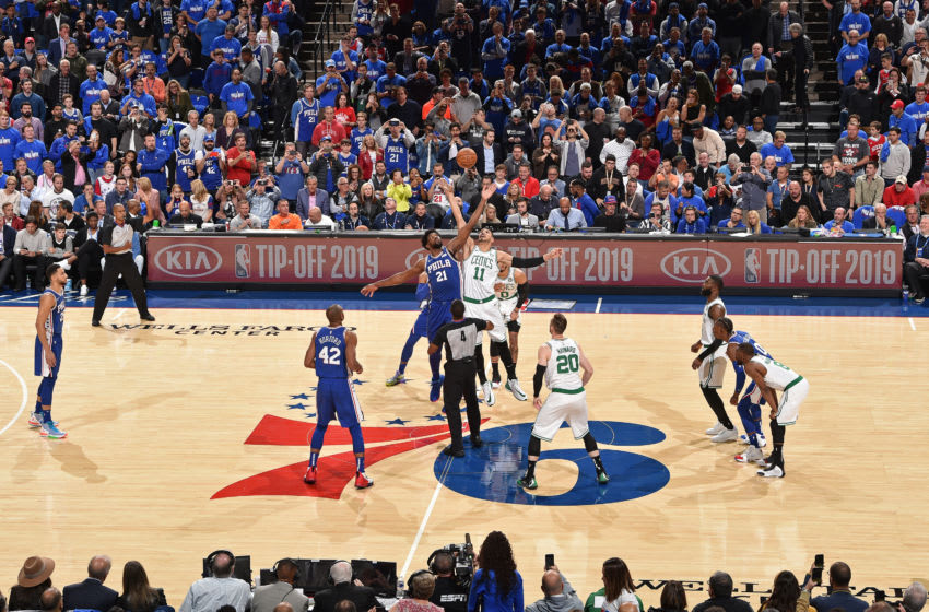 PHILADELPHIA, PA - OCTOBER 23: The opening tip-off between the Philadelphia 76ers and the Boston Celtics on October 23, 2019 at the Wells Fargo Center in Philadelphia, Pennsylvania NOTE TO USER: User expressly acknowledges and agrees that, by downloading and/or using this Photograph, user is consenting to the terms and conditions of the Getty Images License Agreement. Mandatory Copyright Notice: Copyright 2019 NBAE (Photo by David Dow/NBAE via Getty Images)