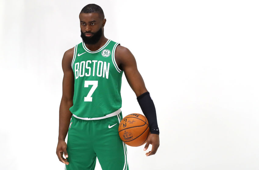 CANTON, MASSACHUSETTS - SEPTEMBER 30: Jaylen Brown #7 looks on during Celtics Media Day at High Output Studios on September 30, 2019 in Canton, Massachusetts. (Photo by Maddie Meyer/Getty Images)