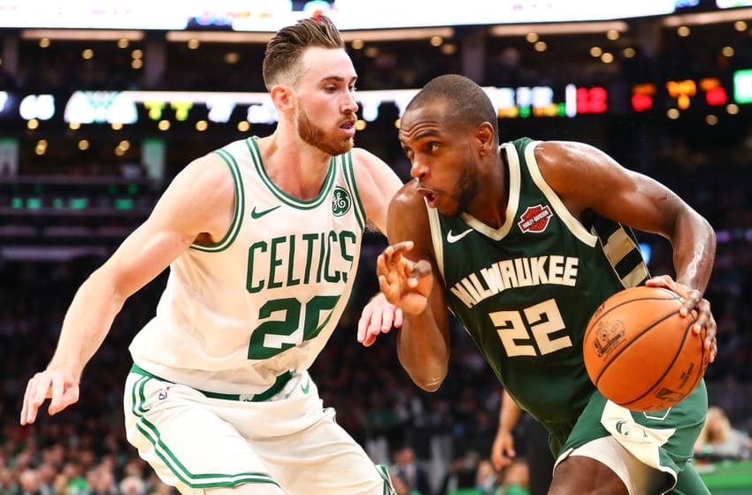 BOSTON, MA - OCTOBER 30: Khris Middleton #22 of the Milwaukee Bucks drives to the basket past Gordon Hayward #20 of the Boston Celtics during a game at TD Garden on October 30, 2019 in Boston, Massachusetts. NOTE TO USER: User expressly acknowledges and agrees that, by downloading and or using this photograph, User is consenting to the terms and conditions of the Getty Images License Agreement. (Photo by Adam Glanzman/Getty Images)