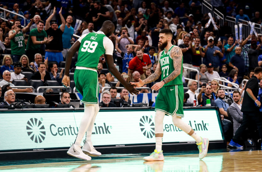 ORLANDO, FLORIDA - OCTOBER 11: Tacko Fall #99 of the Boston Celtics takes the court for the first time against the Orlando Magic in the 4th quarter at Amway Center on October 11, 2019 in Orlando, Florida. NOTE TO USER: User expressly acknowledges and agrees that, by downloading and or using this photograph, User is consenting to the terms and conditions of the Getty Images License Agreement. (Photo by Harry Aaron/Getty Images)