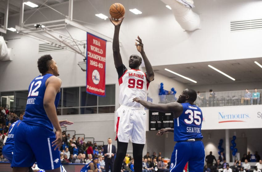 WILMINGTON, DE - NOVEMBER 9: Tacko Fall #99 of the Maine Red Claws shoots the ball during an NBA G League game on November 9, 2019 at the 76ers Fieldhouse Powered by BPG|Sports in Wilmington, DE. NOTE TO USER: User expressly acknowledges and agrees that, by downloading and or using this photograph, User is consenting to the terms and conditions of the Getty Images License Agreement. Mandatory Copyright Notice: Copyright 2019 NBAE (Photo by Mike Lawrence/NBAE via Getty Images)