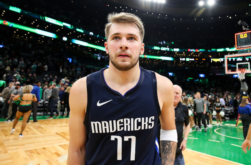 BOSTON, MA - NOVEMBER 11: Luka Doncic #77 of the Dallas Mavericks looks on after a loss to the Boston Celtics at TD Garden on November 11, 2019 in Boston, Massachusetts. NOTE TO USER: User expressly acknowledges and agrees that, by downloading and or using this photograph, User is consenting to the terms and conditions of the Getty Images License Agreement. (Photo by Adam Glanzman/Getty Images)