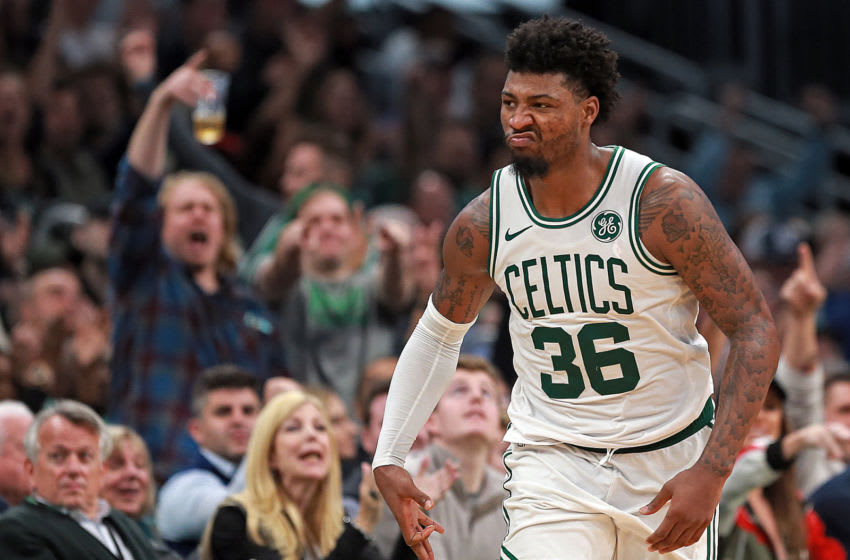 BOSTON, MA. - OCTOBER 30: Marcus Smart #36 of the Boston Celtics celebrates his 3-pointer during the second half of the NBA game against the Milwaukee Bucks at the TD Garden on October 30, 2019 in Boston, Massachusetts. (Staff Photo By Matt Stone/MediaNews Group/Boston Herald)