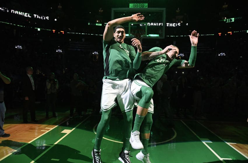 BOSTON, MA - DECEMBER 9: Enes Kanter #11 of the Boston Celtics and Daniel Theis #27 get ready for the game against the Cleveland Cavaliers on December 9, 2019 at the TD Garden in Boston, Massachusetts. NOTE TO USER: User expressly acknowledges and agrees that, by downloading and or using this photograph, User is consenting to the terms and conditions of the Getty Images License Agreement. Mandatory Copyright Notice: Copyright 2019 NBAE (Photo by Brian Babineau/NBAE via Getty Images)