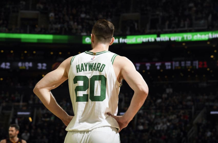 BOSTON, MA - DECEMBER 9: Gordon Hayward #20 of the Boston Celtics looks on during the game against the Cleveland Cavaliers on December 9, 2019 at the TD Garden in Boston, Massachusetts. NOTE TO USER: User expressly acknowledges and agrees that, by downloading and or using this photograph, User is consenting to the terms and conditions of the Getty Images License Agreement. Mandatory Copyright Notice: Copyright 2019 NBAE (Photo by Brian Babineau/NBAE via Getty Images)