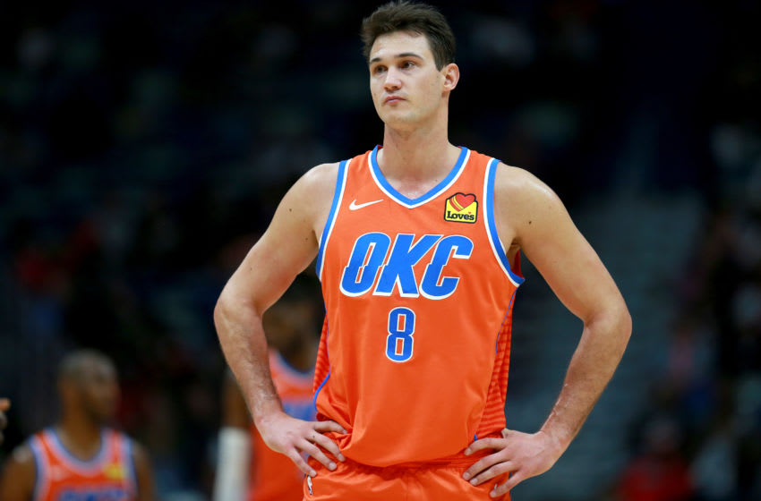 NEW ORLEANS, LOUISIANA - DECEMBER 01: Danilo Gallinari #8 of the Oklahoma City Thunder stands on the court during a NBA game against the New Orleans Pelicans at Smoothie King Center on December 01, 2019 in New Orleans, Louisiana. NOTE TO USER: User expressly acknowledges and agrees that, by downloading and or using this photograph, User is consenting to the terms and conditions of the Getty Images License Agreement. (Photo by Sean Gardner/Getty Images)