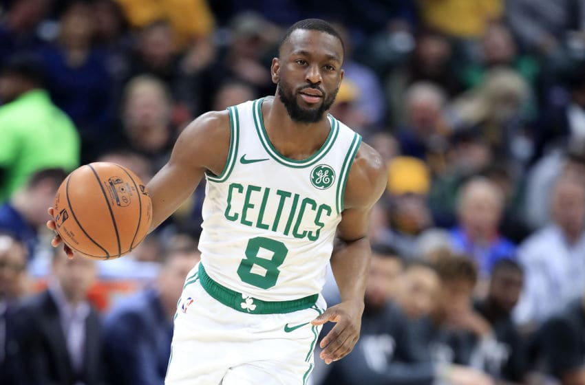 INDIANAPOLIS, INDIANA - DECEMBER 11: Kemba Walker #8 of the Boston Celtics dribbles the ball during the game against the Indiana Pacers at Bankers Life Fieldhouse on December 11, 2019 in Indianapolis, Indiana. NOTE TO USER: User expressly acknowledges and agrees that, by downloading and or using this photograph, User is consenting to the terms and conditions of the Getty Images License Agreement. (Photo by Andy Lyons/Getty Images)