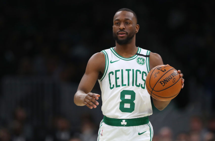 BOSTON, MASSACHUSETTS - JANUARY 22: Kemba Walker #8 of the Boston Celtics dribbles against the Memphis Grizzlies at TD Garden on January 22, 2020 in Boston, Massachusetts. (Photo by Maddie Meyer/Getty Images)