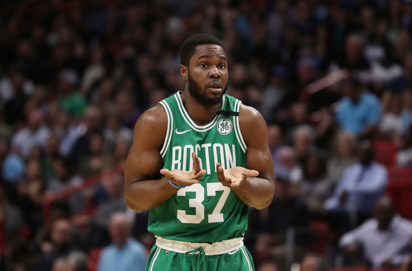 MIAMI, FLORIDA - JANUARY 28: Semi Ojeleye #37 of the Boston Celtics reacts against the Miami Heat during the first half at American Airlines Arena on January 28, 2020 in Miami, Florida. NOTE TO USER: User expressly acknowledges and agrees that, by downloading and/or using this photograph, user is consenting to the terms and conditions of the Getty Images License Agreement. (Photo by Michael Reaves/Getty Images)