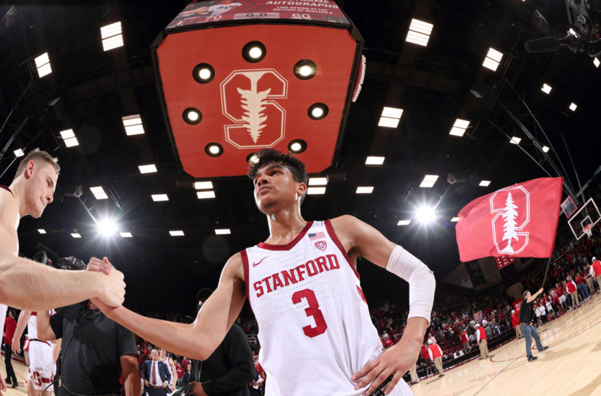 STANFORD, CA - FEBRUARY 01: Tyrell Terry #3 of the Stanford Cardinal celebrates with Isaac White #4 during a game between University of Oregon and Stanford at Maples Pavilion on February 01, 2020 in Stanford, California. (Photo by Bob Drebin/ISI Photos/Getty Images)