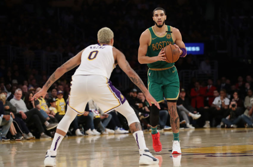 LOS ANGELES, CALIFORNIA - FEBRUARY 23: Jayson Tatum #0 of the Boston Celtics looks to pass the ball during the game against the Los Angeles Lakers at Staples Center on February 23, 2020 in Los Angeles, California. (Photo by Katelyn Mulcahy/Getty Images)