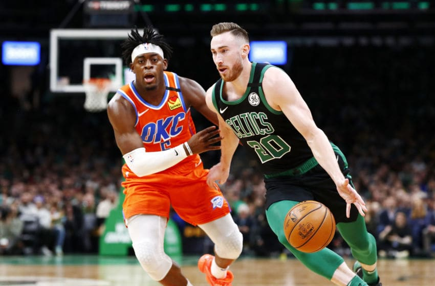 BOSTON, MASSACHUSETTS - MARCH 08: Gordon Hayward #20 of the Boston Celtics drives to the basket during the third quarter of the game against the Oklahoma City Thunder at TD Garden on March 08, 2020 in Boston, Massachusetts. NOTE TO USER: User expressly acknowledges and agrees that, by downloading and or using this photograph, User is consenting to the terms and conditions of the Getty Images License Agreement. (Photo by Omar Rawlings/Getty Images)
