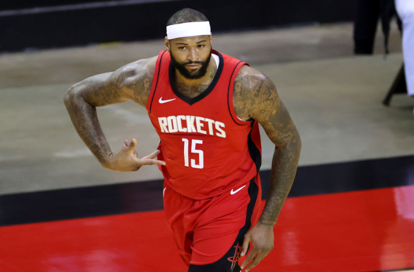 HOUSTON, TEXAS - JANUARY 10: DeMarcus Cousins #15 of the Houston Rockets reacts during the first quarter of a game against the Los Angeles Lakers at Toyota Center on January 10, 2021 in Houston, Texas. NOTE TO USER: User expressly acknowledges and agrees that, by downloading and or using this photograph, User is consenting to the terms and conditions of the Getty Images License Agreement. (Photo by Carmen Mandato/Getty Images)