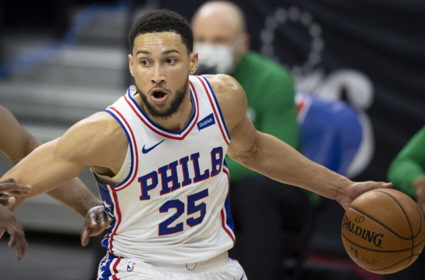 PHILADELPHIA, PA - JANUARY 20: Ben Simmons #25 of the Philadelphia 76ers dribbles the ball against the Boston Celtics at the Wells Fargo Center on January 20, 2021 in Philadelphia, Pennsylvania. The 76ers defeated the Celtics 117-109. NOTE TO USER: User expressly acknowledges and agrees that, by downloading and or using this photograph, User is consenting to the terms and conditions of the Getty Images License Agreement. (Photo by Mitchell Leff/Getty Images)