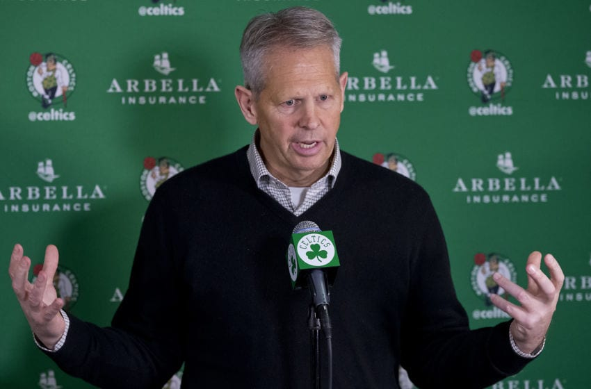 BOSTON, MA - DECEMBER 19: Danny Ainge, President of Basketball Operations for the Boston Celtics, commented on the Rajon Rondo trade at TD Garden in Boston, Friday, Dec. 19, 2014. (Photo by Matthew J. Lee/The Boston Globe via Getty Images)