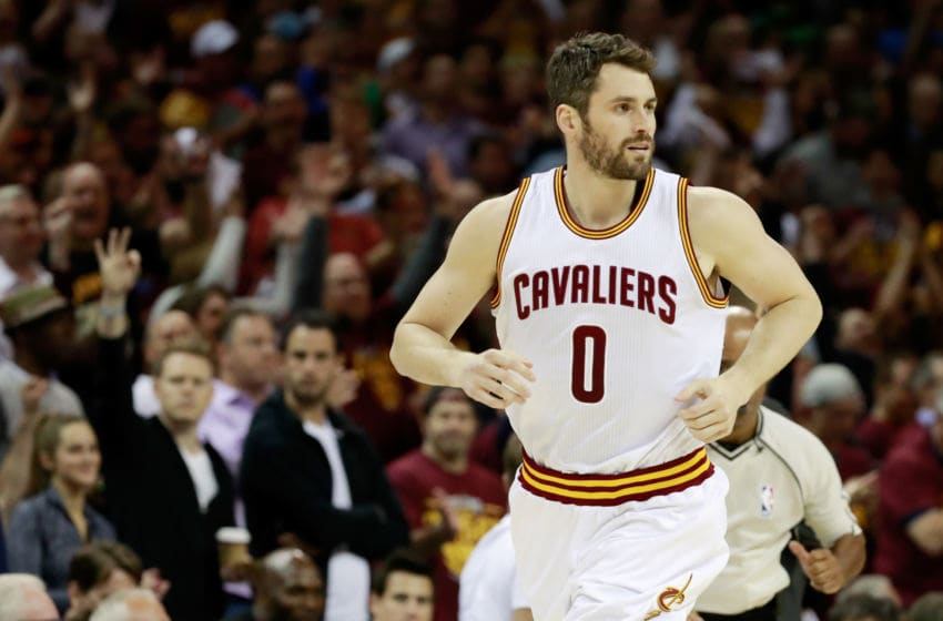 CLEVELAND, OH - MAY 23: Kevin Love #0 of the Cleveland Cavaliers reacts afte rhitting a three pointer in the first quarter against the Boston Celtics during Game Four of the 2017 NBA Eastern Conference Finals at Quicken Loans Arena on May 23, 2017 in Cleveland, Ohio. NOTE TO USER: User expressly acknowledges and agrees that, by downloading and or using this photograph, User is consenting to the terms and conditions of the Getty Images License Agreement. (Photo by Gregory Shamus/Getty Images)