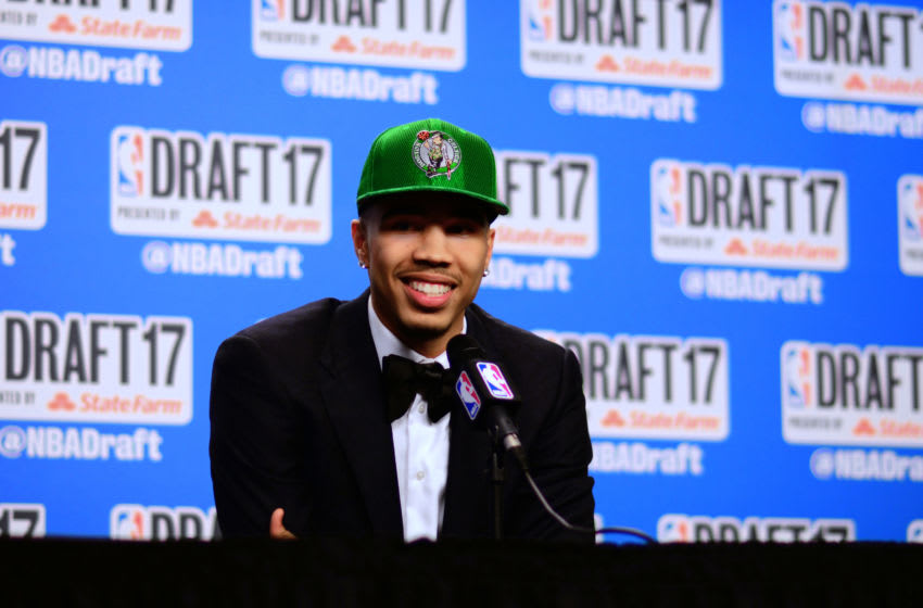 BROOKLYN, NY - JUNE 22: Jayson Tatum speaks with the media after being selected third overall by the Boston Celtics at the 2017 NBA Draft on June 22, 2017 at Barclays Center in Brooklyn, New York. NOTE TO USER: User expressly acknowledges and agrees that, by downloading and or using this photograph, User is consenting to the terms and conditions of the Getty Images License Agreement. Mandatory Copyright Notice: Copyright 2017 NBAE (Photo by Stephen Pellegrino/NBAE via Getty Images)