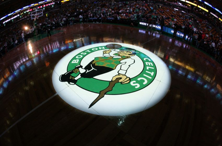 BOSTON - MAY 2: The Boston Celtics logo is displayed at center court as they host the Chicago Bulls prior to Game Seven of the Eastern Conference Quarterfinals during the 2009 NBA Playoffs at The TD Banknorth Garden on May 2, 2009 in Boston, Massachusetts. The Celtics won 109-99. NOTE TO USER: User expressly acknowledges and agrees that, by downloading and/or using this Photograph, user is consenting to the terms and conditions of the Getty Images License Agreement. Mandatory Copyright Notice: Copyright 2009 NBAE (Photo by Jesse D. Garrabrant/NBAE via Getty Images)