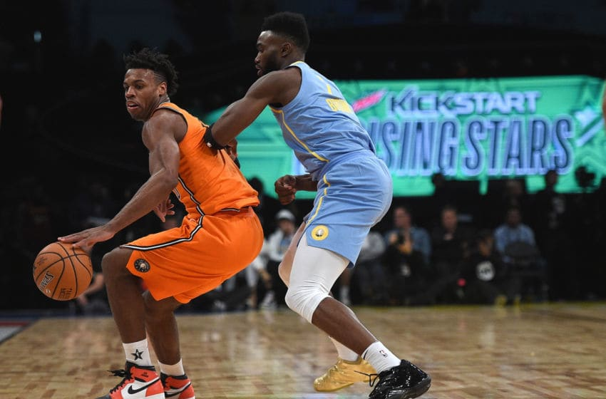 LOS ANGELES, CA - FEBRUARY 16: Buddy Hield #24 of the World Team backs down Jaylen Brown #7 of Team USA during the 2018 Mountain Dew Kickstart Rising Stars Game at Staples Center on February 16, 2018 in Los Angeles, California. (Photo by Kevork Djansezian/Getty Images)