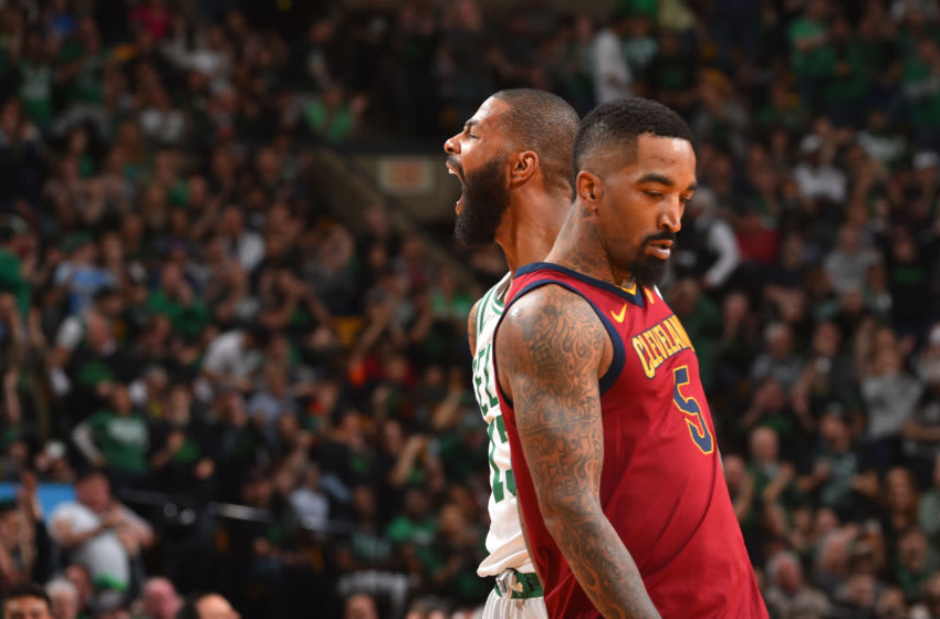BOSTON, MA - MAY 13: Marcus Morris #13 of the Boston Celtics reacts to a play in Game One of the Eastern Conference Finals against the Cleveland Cavaliers during the 2018 NBA Playoffs on May 13, 2018 at the TD Garden in Boston, Massachusetts. NOTE TO USER: User expressly acknowledges and agrees that, by downloading and or using this photograph, User is consenting to the terms and conditions of the Getty Images License Agreement. Mandatory Copyright Notice: Copyright 2018 NBAE (Photo by Jesse D. Garrabrant/NBAE via Getty Images)