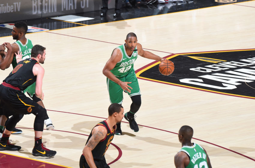 CLEVELAND, OH - MAY 21: Al Horford #42 of the Boston Celtics handles the ball against the Cleveland Cavaliers in Game Four of the Eastern Conference Finals of the 2018 NBA Playoffs on May 21, 2018 at Quicken Loans Arena in Cleveland, Ohio. NOTE TO USER: User expressly acknowledges and agrees that, by downloading and or using this Photograph, user is consenting to the terms and conditions of the Getty Images License Agreement. Mandatory Copyright Notice: Copyright 2018 NBAE (Photo by Brian Babineau/NBAE via Getty Images)