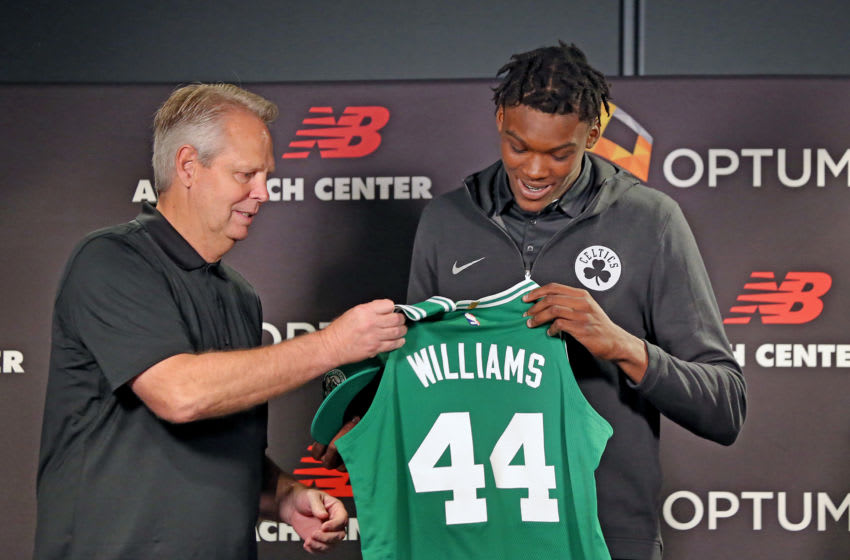 BOSTON, MA - JUNE 29: Boston Celtics general manager Danny Ainge, left, stands with first-round draft pick Robert Williams during an introductory press conference in Boston on June 29, 2018. (Photo by David L. Ryan/The Boston Globe via Getty Images)