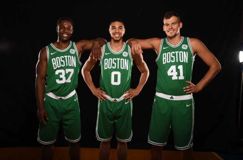 TARRYTOWN, NY - AUGUST 11: Semi Ojeleye, Jayson Tatum and Ante Zizic of the Boston Celtics pose for a photo during the 2017 NBA Rookie Photo Shoot at MSG training center on August 11, 2017 in Tarrytown, New York. NOTE TO USER: User expressly acknowledges and agrees that, by downloading and or using this photograph, User is consenting to the terms and conditions of the Getty Images License Agreement. (Photo by Brian Babineau/Getty Images)