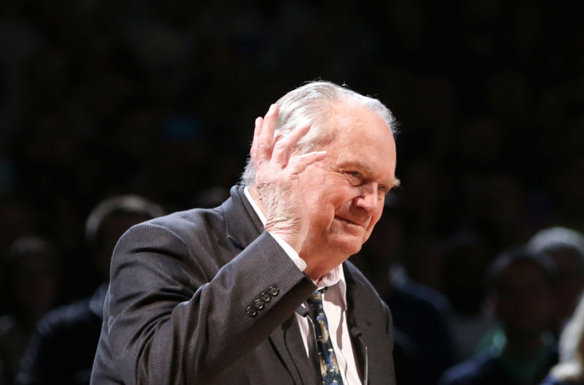 BOSTON, MA - APRIL 13: Head coach of the Boston Celtics 1976 Championship team Tom Heinsohn is honored at halftime of the game between the Boston Celtics and the Miami Heat at TD Garden on April 13, 2016 in Boston, Massachusetts. NOTE TO USER: User expressly acknowledges and agrees that, by downloading and/or using this photograph, user is consenting to the terms and conditions of the Getty Images License Agreement. (Photo by Mike Lawrie/Getty Images)