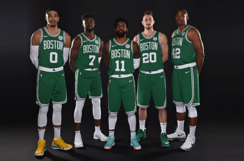 CANTON, MA - SEPTEMBER 24: Jayson Tatum #0, Jaylen Brown #7, Kyrie Irving #11, Gordon Hayward #20 and Al Horford #42 of the Boston Celtics pose for a portrait at media day on September 24, 2018 at the High Output Studios in Canton, Massachusetts. NOTE TO USER: User expressly acknowledges and agrees that, by downloading and or using this photograph, User is consenting to the terms and conditions of the Getty Images License Agreement. Mandatory Copyright Notice: Copyright 2018 NBAE (Photo by Brian Babineau/NBAE via Getty Images)