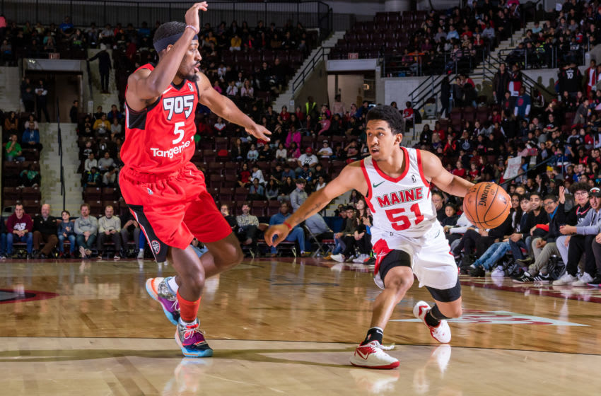 MISSISSAUGA, ON - NOVEMBER 20: Tremont Waters #51 of the Maine Red Claws dribbles the ball against Paul Watson Junior #5 of the Mississauga Raptors 905 defends on November 20, 2019 at The Paramount Fine Foods Centre in Mississauga, Ontario Canada. NOTE TO USER: User expressly acknowledges and agrees that, by downloading and/or using this photograph, user is consenting to the terms and conditions of the Getty Images License Agreement. Mandatory Copyright Notice: Copyright 2019 NBAE (Photo by Christian Bonin/NBAE via Getty Images)