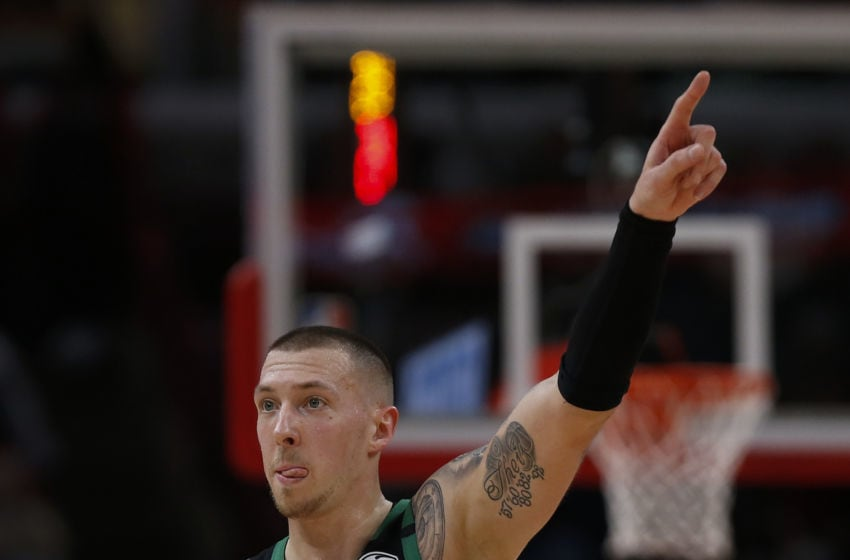 CHICAGO, ILLINOIS - JANUARY 04: Daniel Theis #27 of the Boston Celtics gestures during the second half against the Chicago Bulls at United Center on January 04, 2020 in Chicago, Illinois. NOTE TO USER: User expressly acknowledges and agrees that, by downloading and or using this photograph, User is consenting to the terms and conditions of the Getty Images License Agreement. (Photo by Nuccio DiNuzzo/Getty Images)